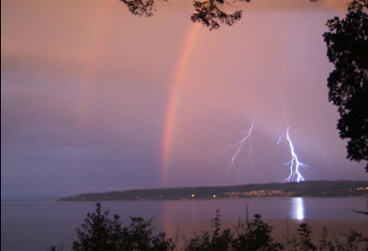 Double rainbow and bolts of lightning